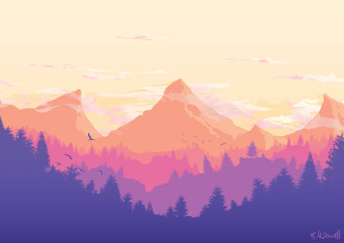 Flat Mountain Landscape