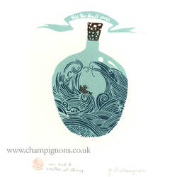Storm In A Tea Cup Bottle Print by DeborahChampion