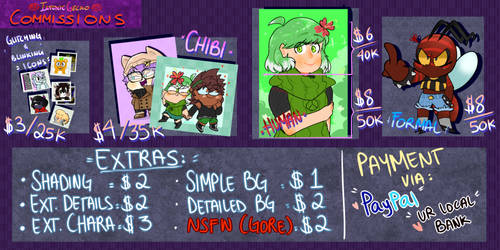 COMMISSIONS LIST UPDATE! by IntoxicGecko