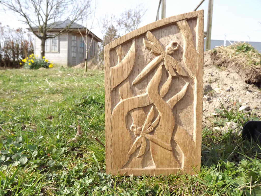 Dragonfly and leaves oak relief carving by rijiismoo on