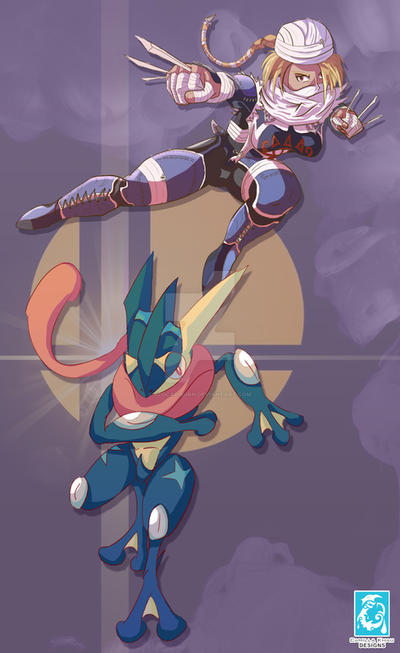 FanArt: Super Smash Bros 4 - Greninja and Shiek by RedCaliburn