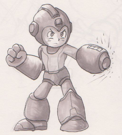 Megaman Doodle - Drawn And Shaded by RedCaliburn