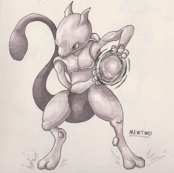 [Pokemon] Fan Art - Mewtwo Sketch by RedCaliburn