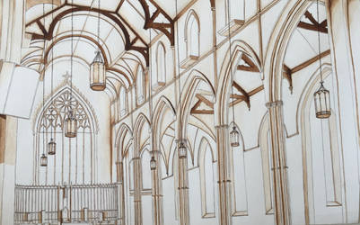 Interior Perspective of St.Mikes Cathedral Toronto by BCesarArts