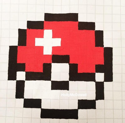8 bit pokeball by hollymcdowell