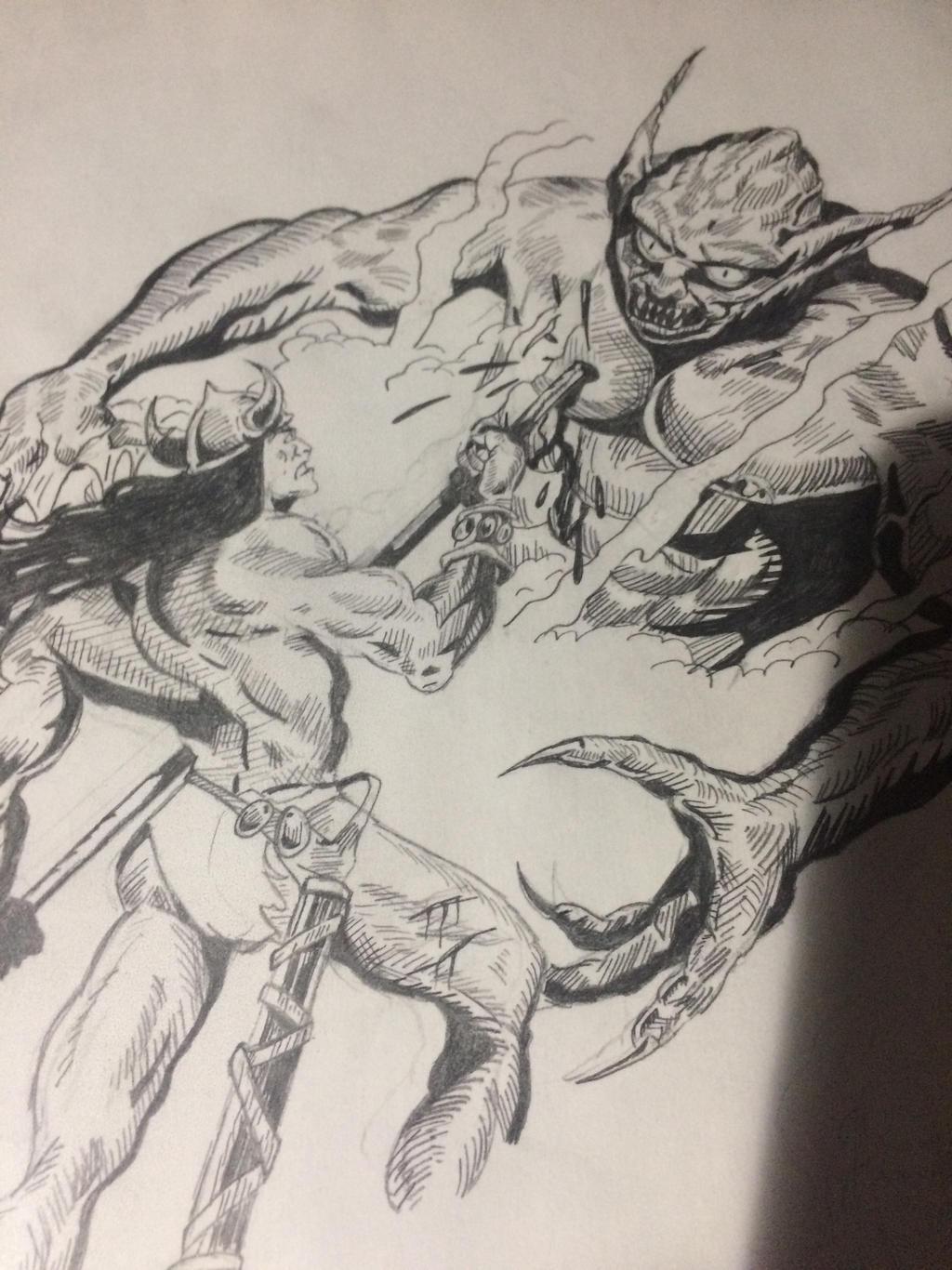 Conan spears Demon