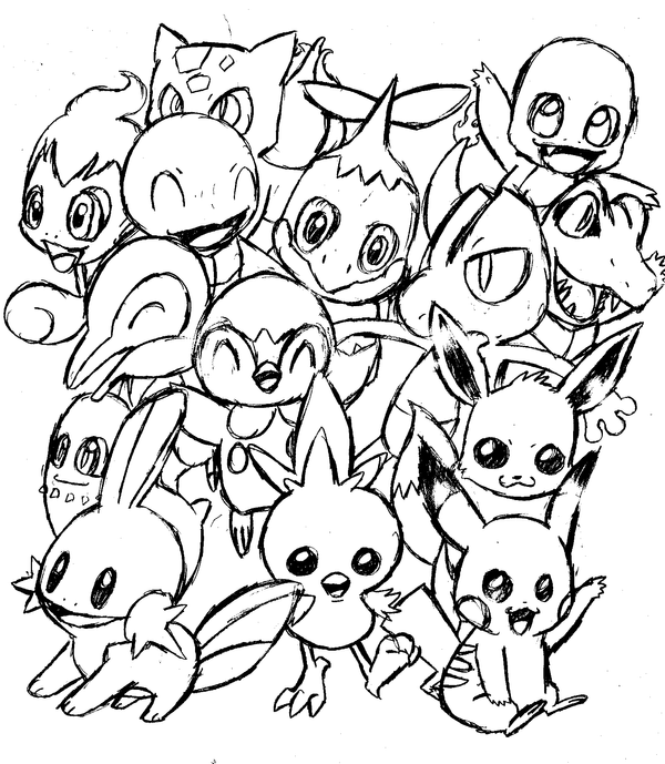 All starter pokemon original by calicobird on deviantart for All pokemon coloring pages