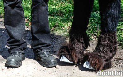 Human feet and faun hooves