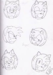 Amy Rose: Facial Expressions by Sceptilianblade