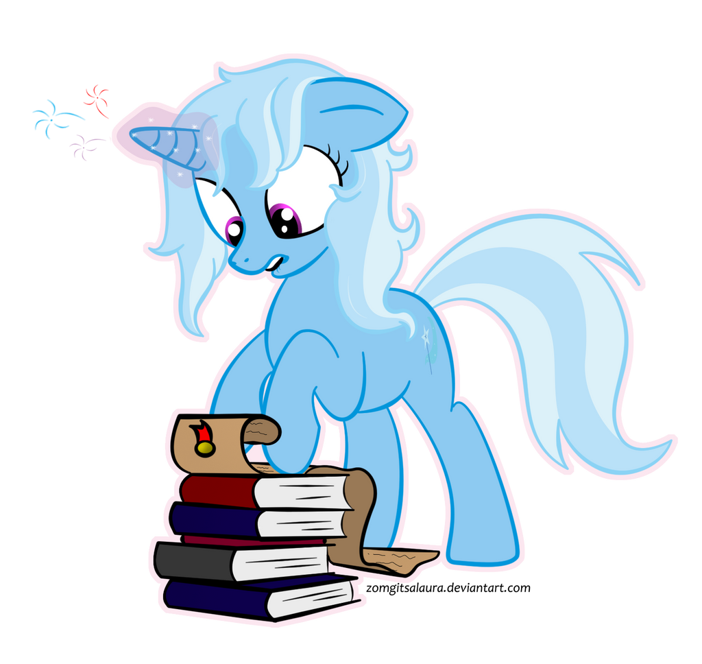Trixie studying