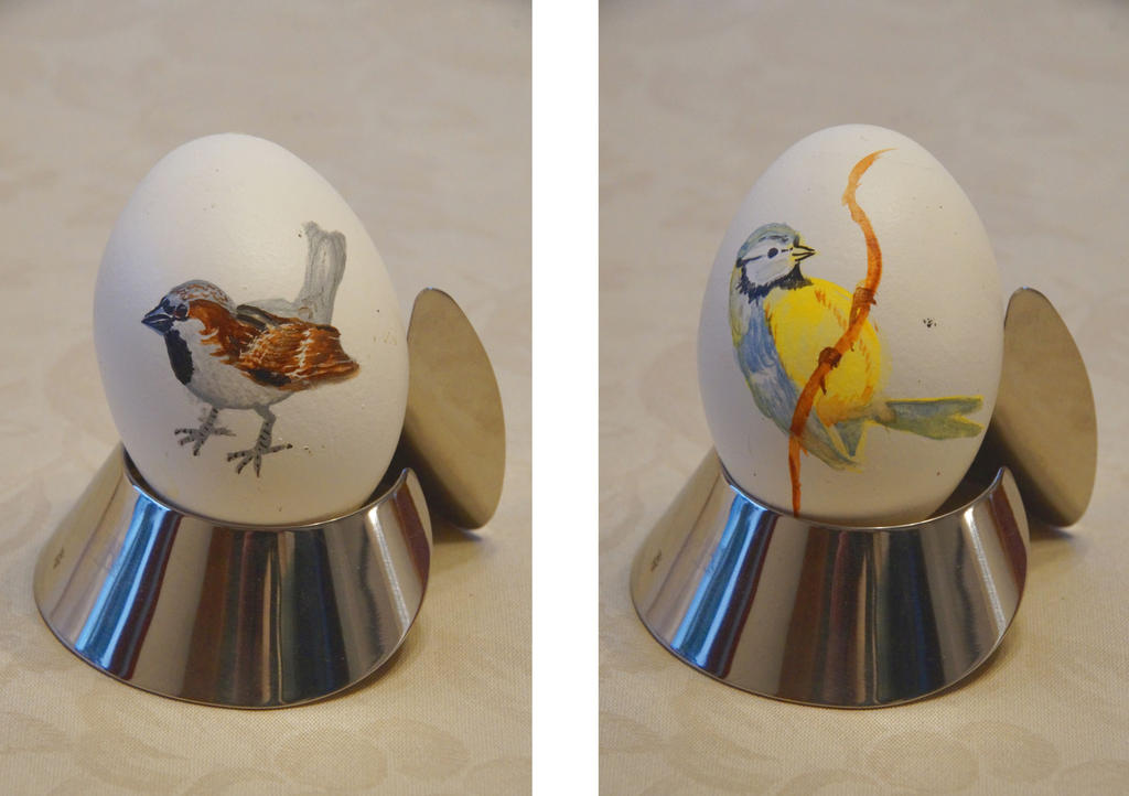 Easter Egg: House Sparrow + Blue Tit by bifishiar