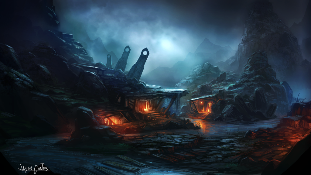 Fantasy Landscape by AtTheSpeedOfFetus