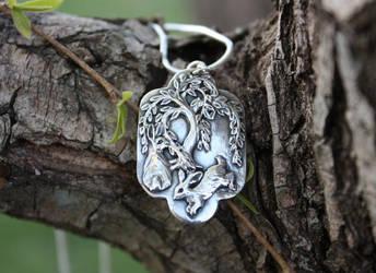 Silver Willow Bunny Pendant by gaernavi