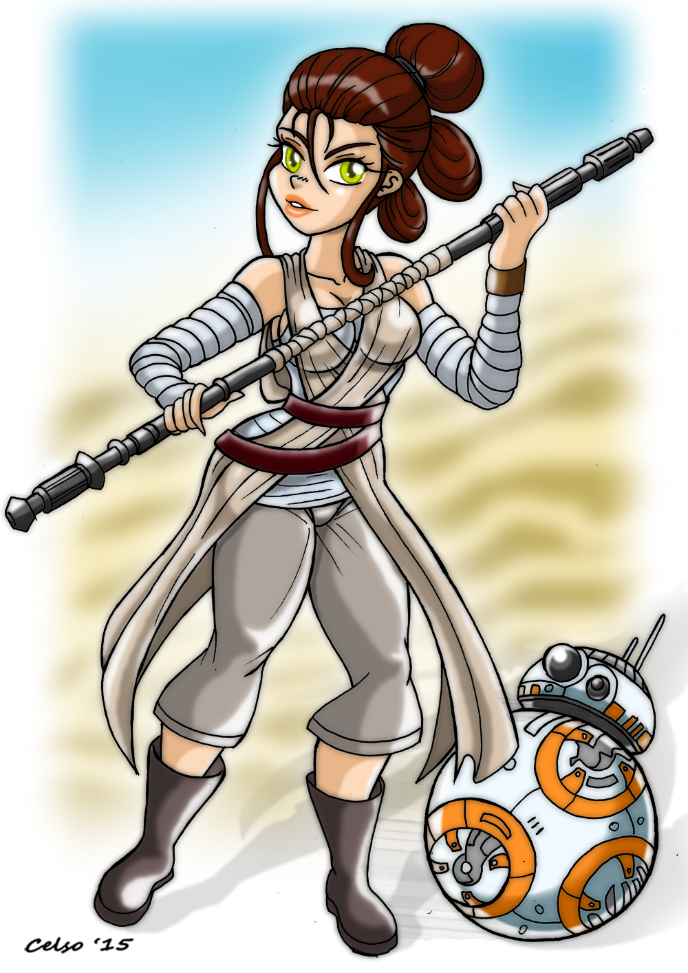 rey and bb8 star wars vii the force awakens by celso33