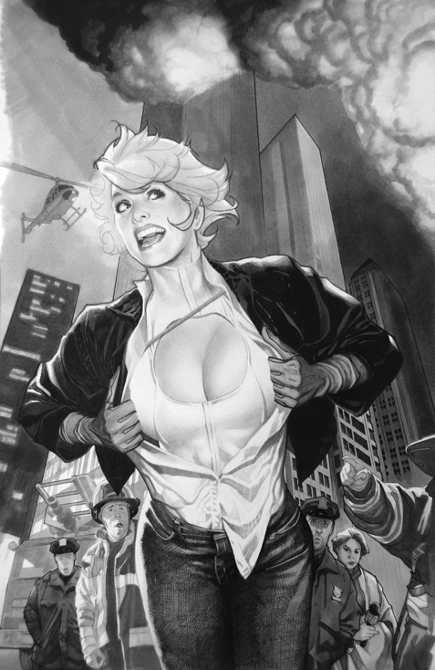 Power Girl Tonal Drawing by AdamHughes