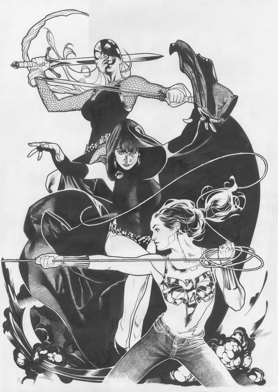 Teen Titans Line Art by AdamHughes
