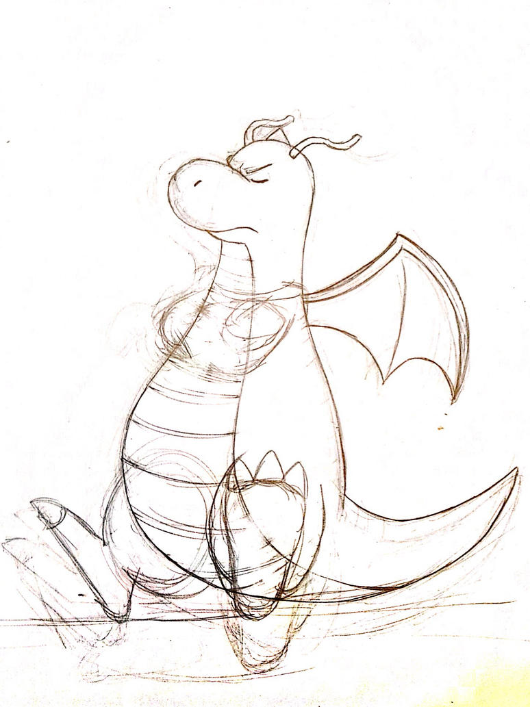 Dragonite - Pencil Sketch by Rapid-the-Hedgehog