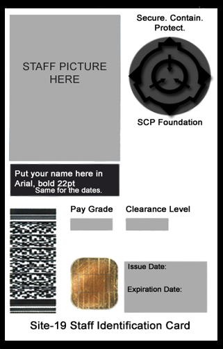 Scp Foundation Id Card Template By Generalpurposegeek On