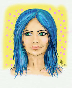 My first digital drawing ever - Blue haired girl