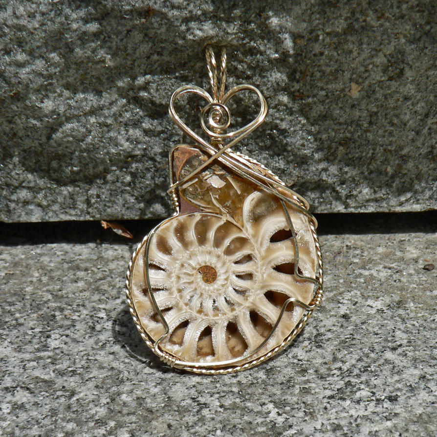 Sparkling Cream and Gold Ammonite Pendant by magpie-poet