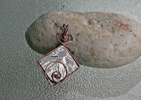Copper Spiral Meteorite Pendant