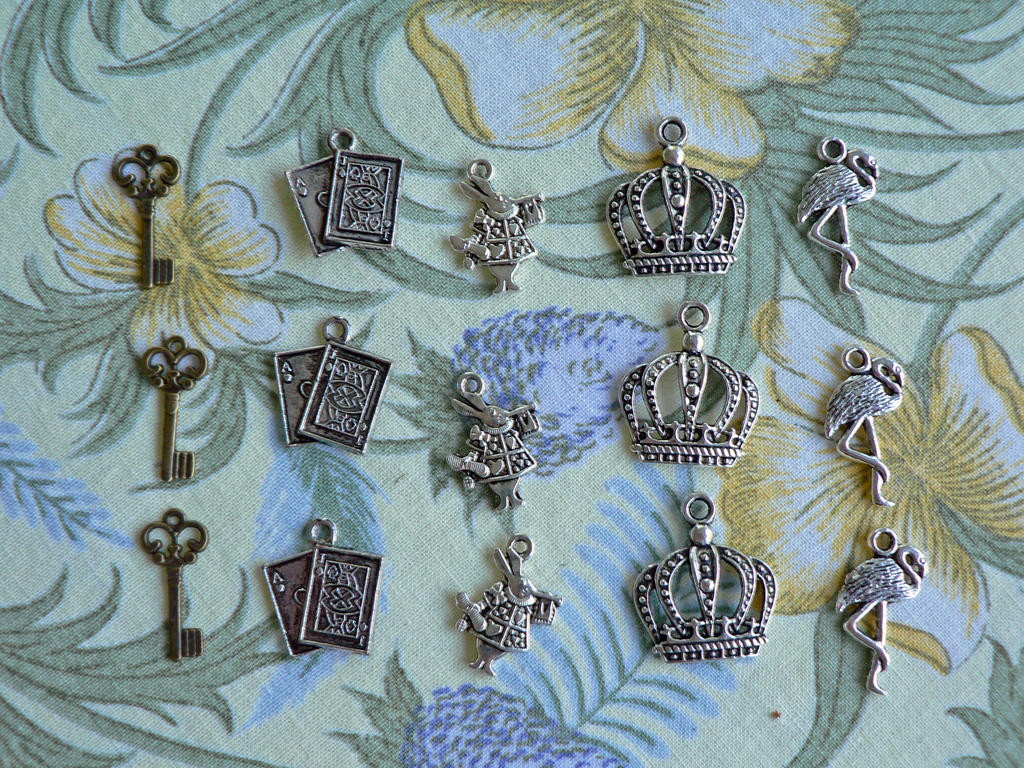 Alice in Wonderland Charms by magpie-poet