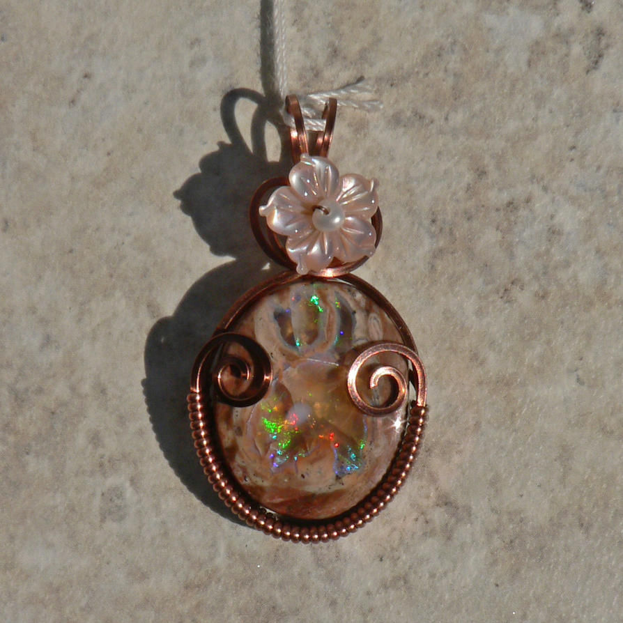 Stubborn Pink Mexican Fire Opal in Copper by magpie-poet