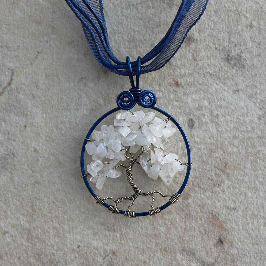 Snowy Midnight Tree of Life ACLU Pendant by magpie-poet