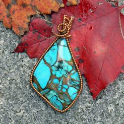 Brecciated Turquoise in Copper