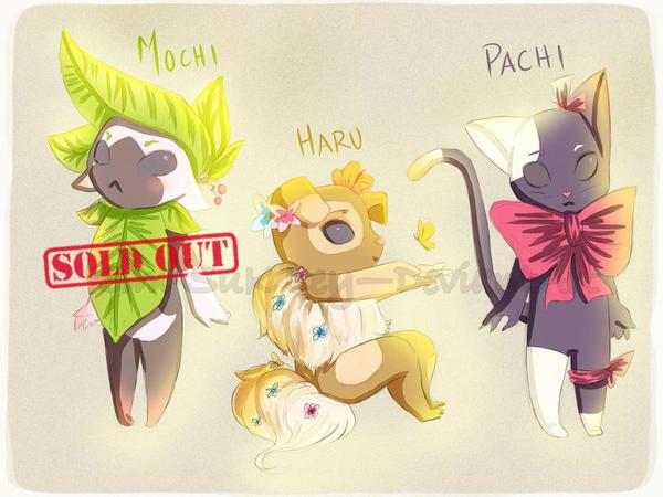 Adoptables- Mochi, Haru, Pachi (OPEN) by Kim-SukLey