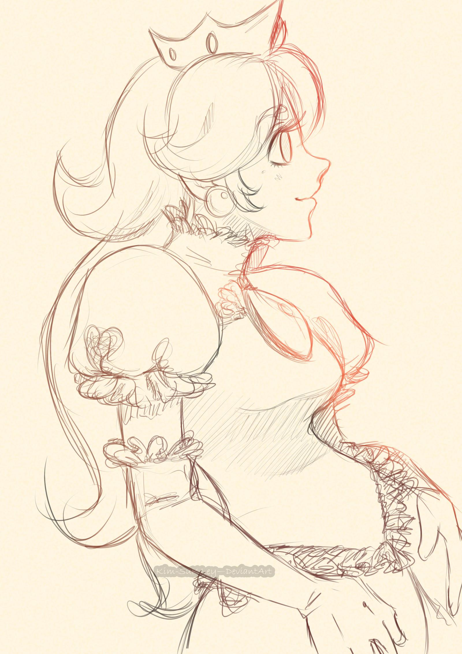 Princess Peach sketch by Kim-SukLey