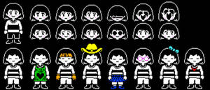 Frisk and Chara Alternate Faces/Outfits