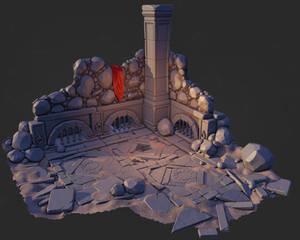 Stylized castle ruins