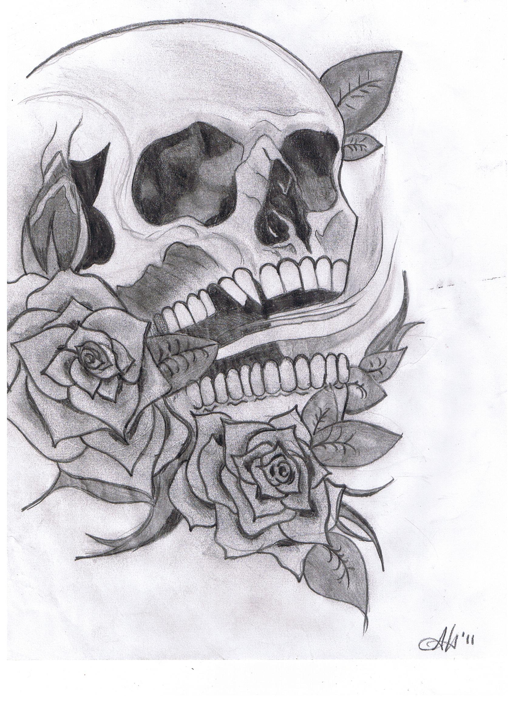 Skull and Roses by 20CKSTA2SHIT on DeviantArt