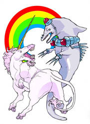 Unicorn vs. Dolphin by basehead
