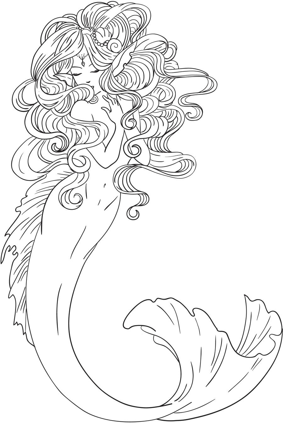 Mermaid Lineart by hitomi--i on DeviantArt |Mermaid Line Drawing