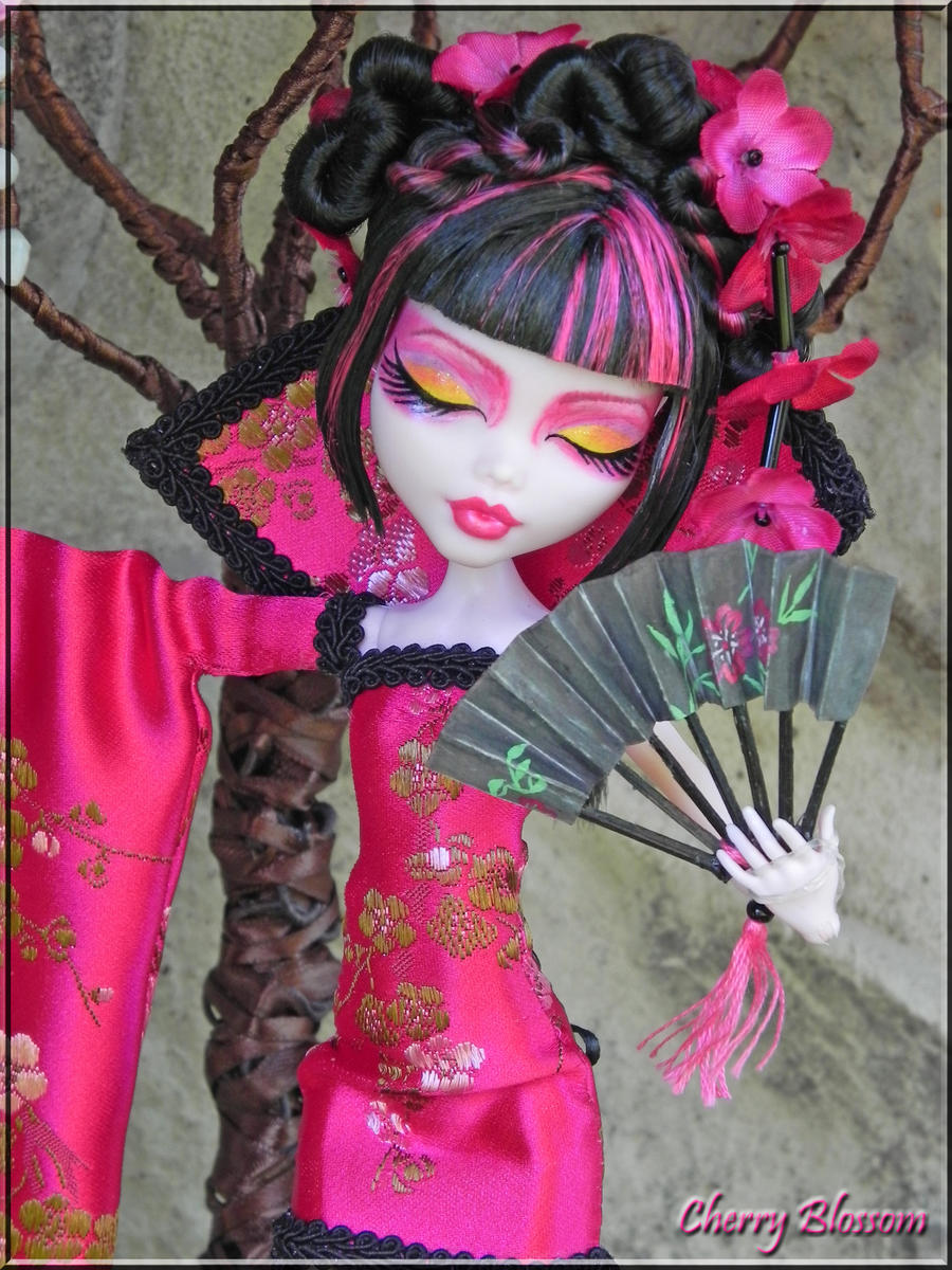 Cherry Blossom OOAK Fantasy Monster High closeup by KrisKreations