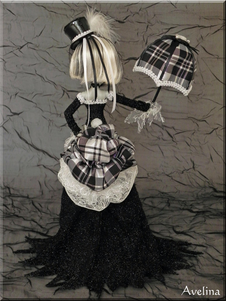 OOAK Victorian Goth Monster High doll back view by KrisKreations