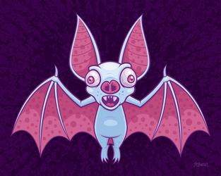 Albino Vampire Bat by fizzgig
