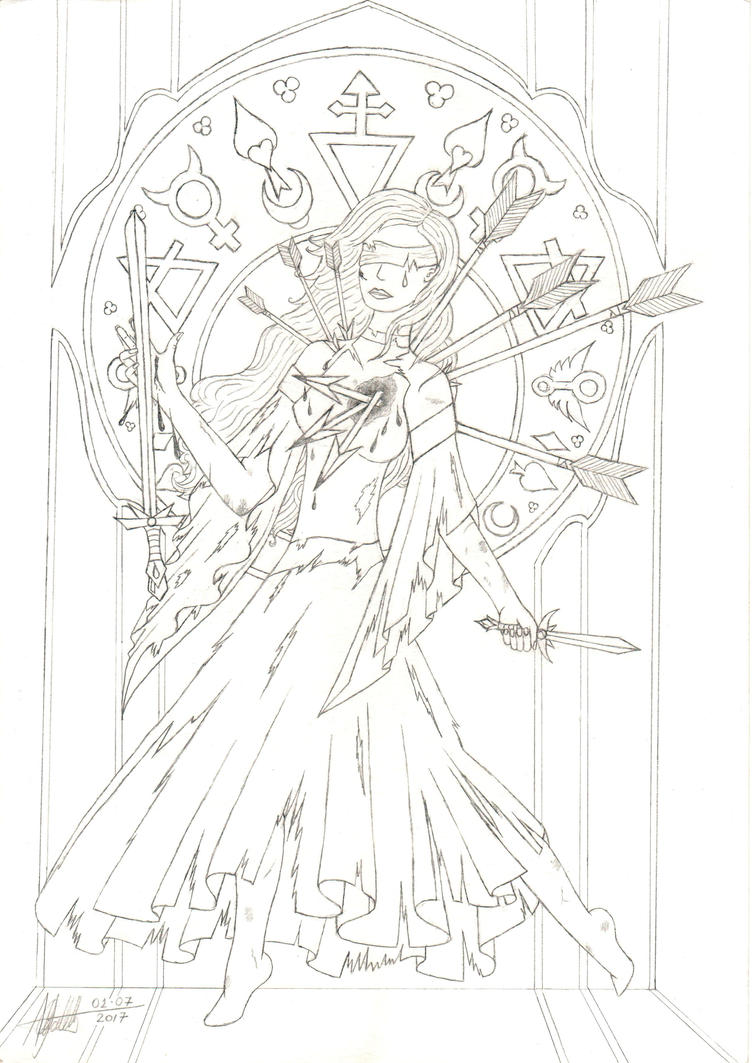 Resilience, The Blind Goddess - Outline by Eollica