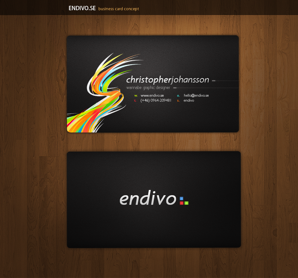 Custom Card Template art business cards : Endivo Business Cards by alivepixel on DeviantArt