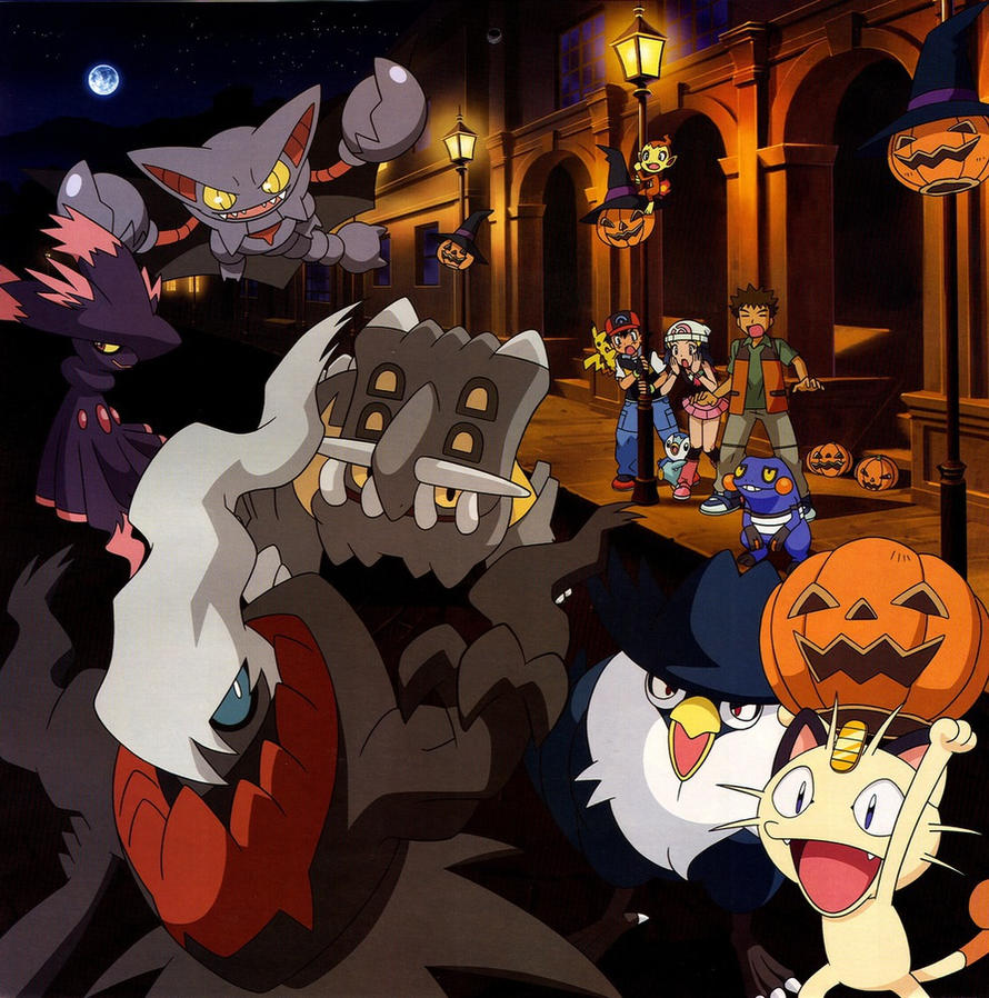 Anime Characters For Halloween : Pokemon halloween calender wallpaper by drybowzillajp on