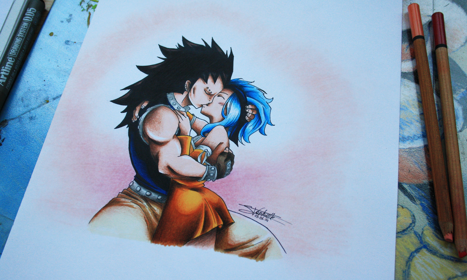 Gajeel and Levy kiss! *o* by InlineSpeedSkater on DeviantArt