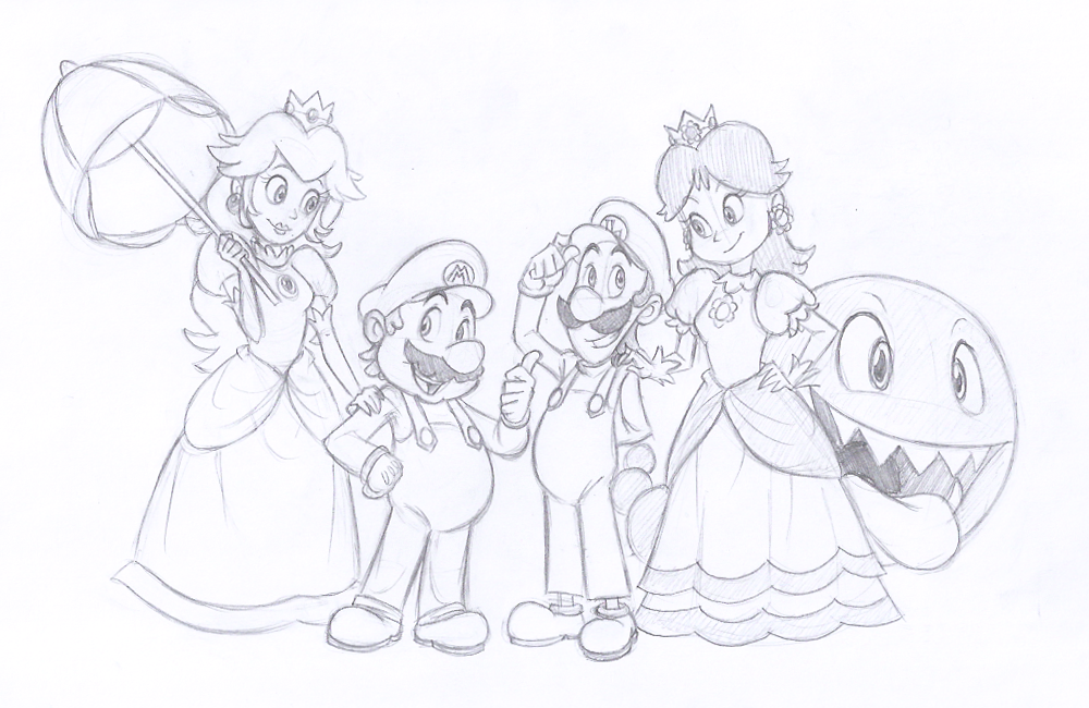 Sketch Commission - Plumbers and Princesses by EarthGwee