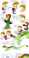 Gwee meets Rayman doodle pages 3 and 4 by EarthGwee