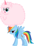 Fluffle Puff dancing on Rainbow... Dash