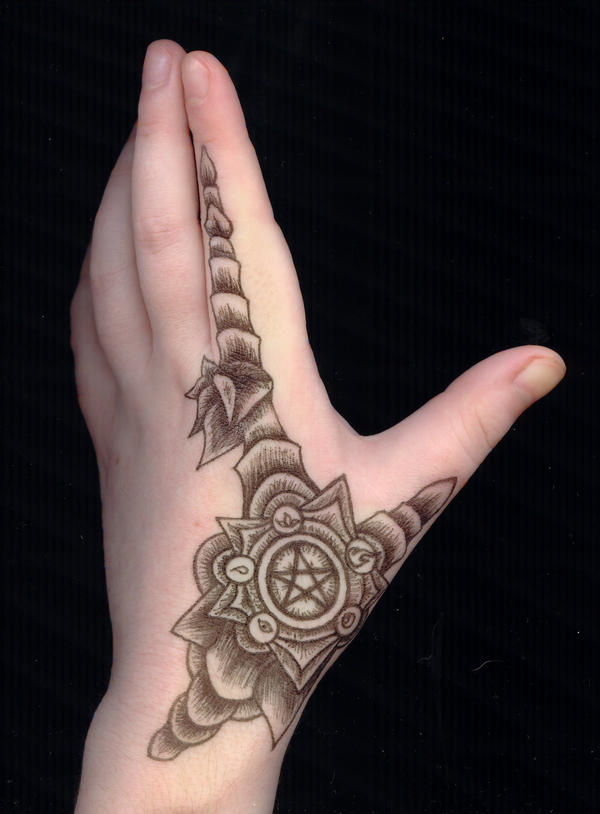 Pentacle armor hand tattoo by gizmodian on deviantart for Female hand tattoos