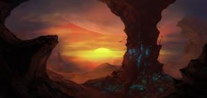 Alien planet sunset