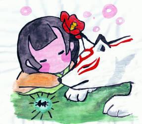 Okami Ammy sleeping by Lucy101