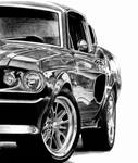 Shelby Mustang pencil drawing